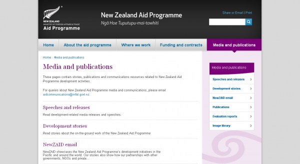 The New Zealand Aid Programme, List of articles